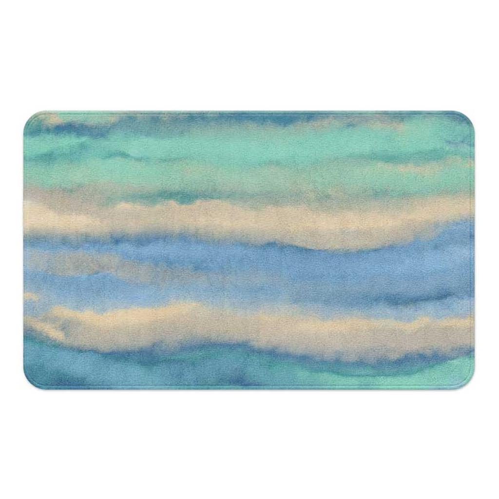 coastal ocean wave bath mat in teal, blue and green