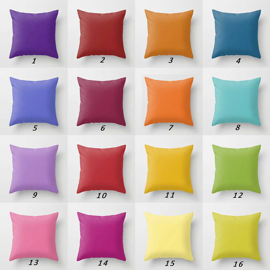 solid color pillow covers, purple, red, yellow, orange, teal, turquoise, green