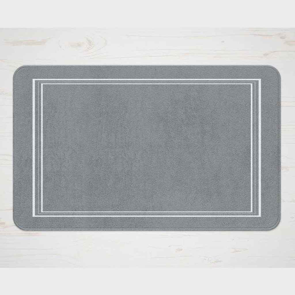 gray bath mat with white borders