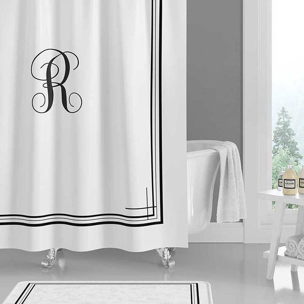 black and white shower curtain with letter initial