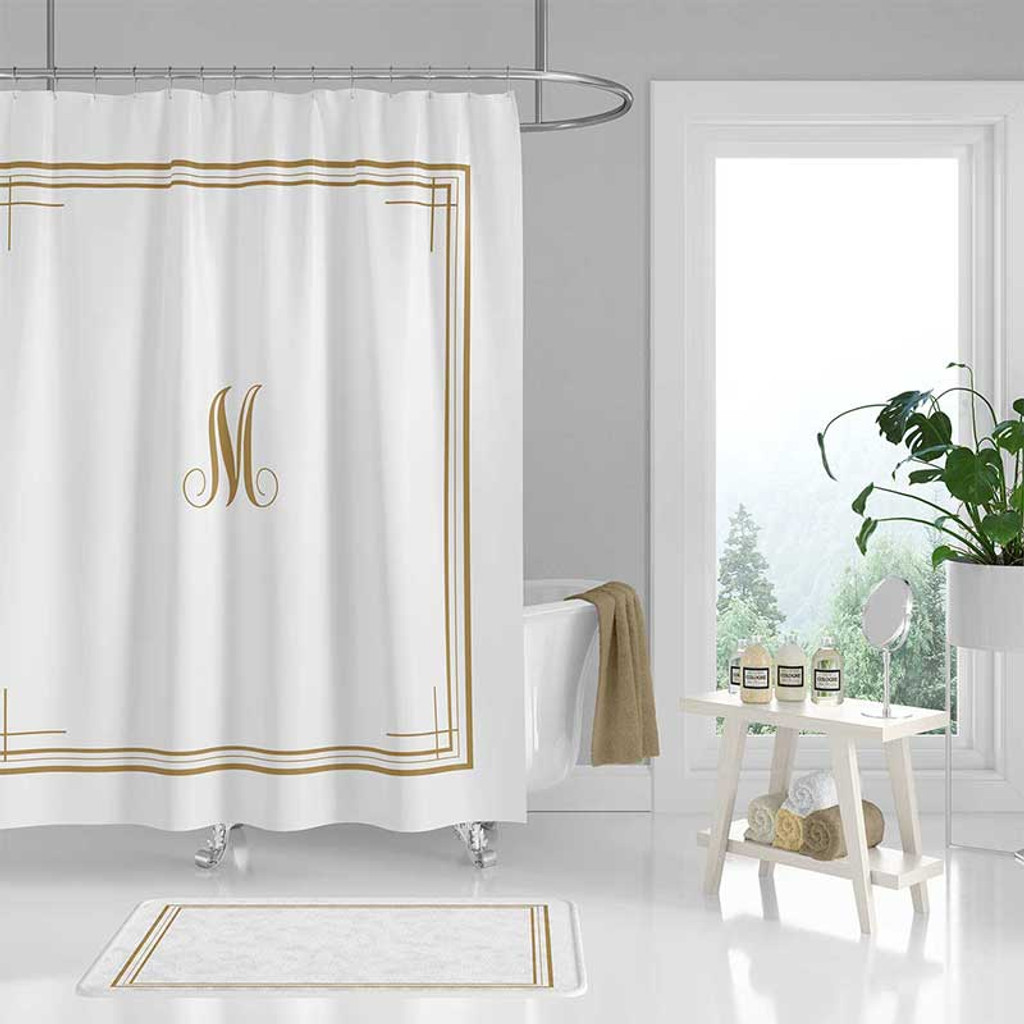 Black White Shower Curtain With Monogram Personalized Bath Curtain Bath Mat