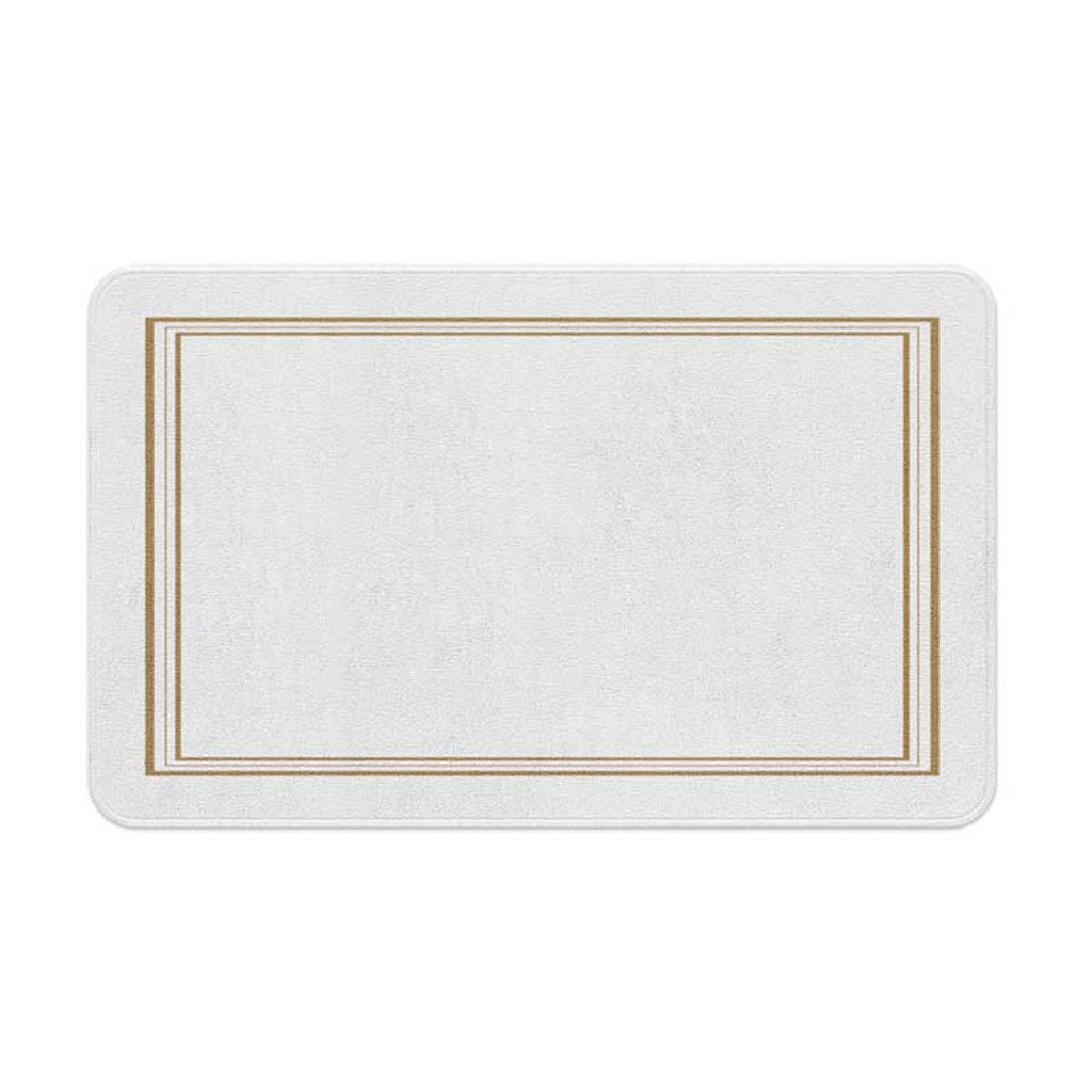 White bath mat with gold borders