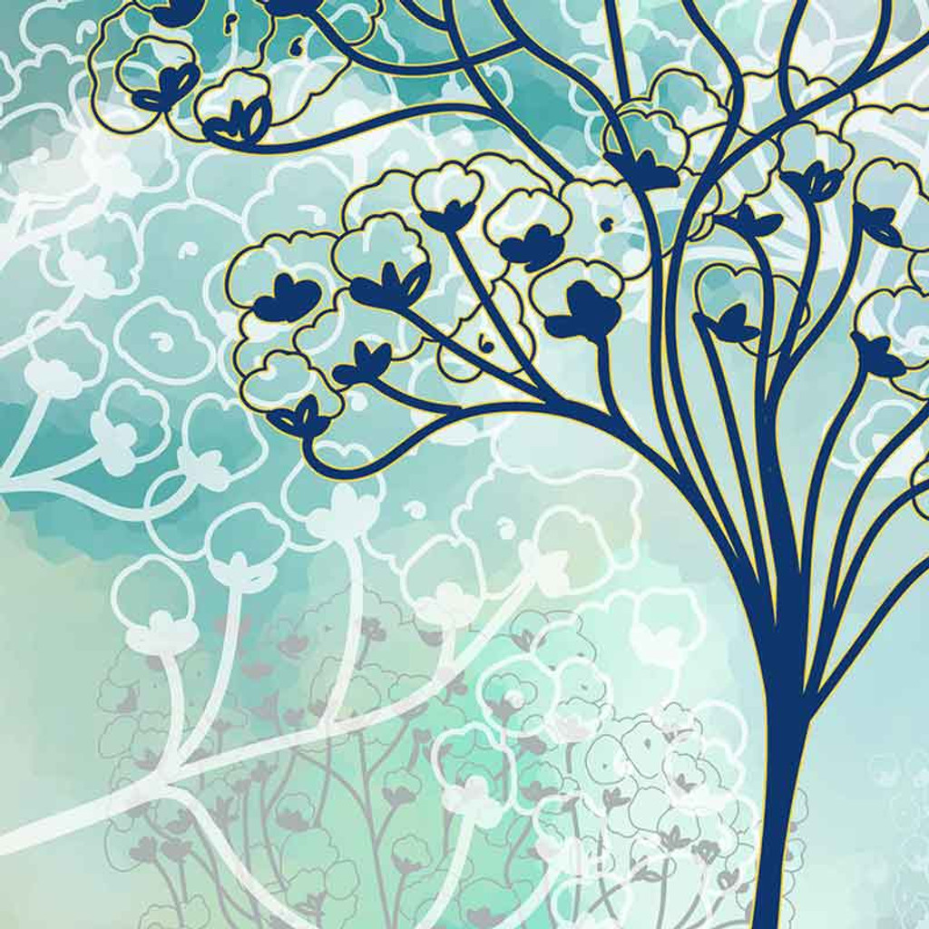 Blue Beige Watercolor Shower Curtain with Baby's Breath, Trees, Bath Mat