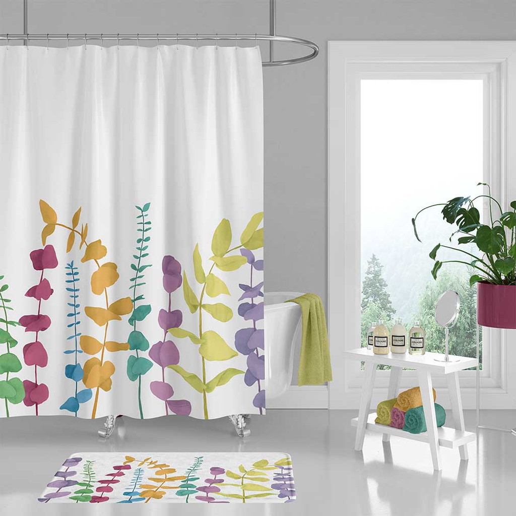 colorful eucalyptus shower curtain in yellow, red, green and blue