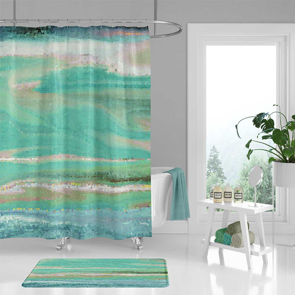 Blue Green Wave Shower Curtain Bath Mat Coastal Bathroom Decor