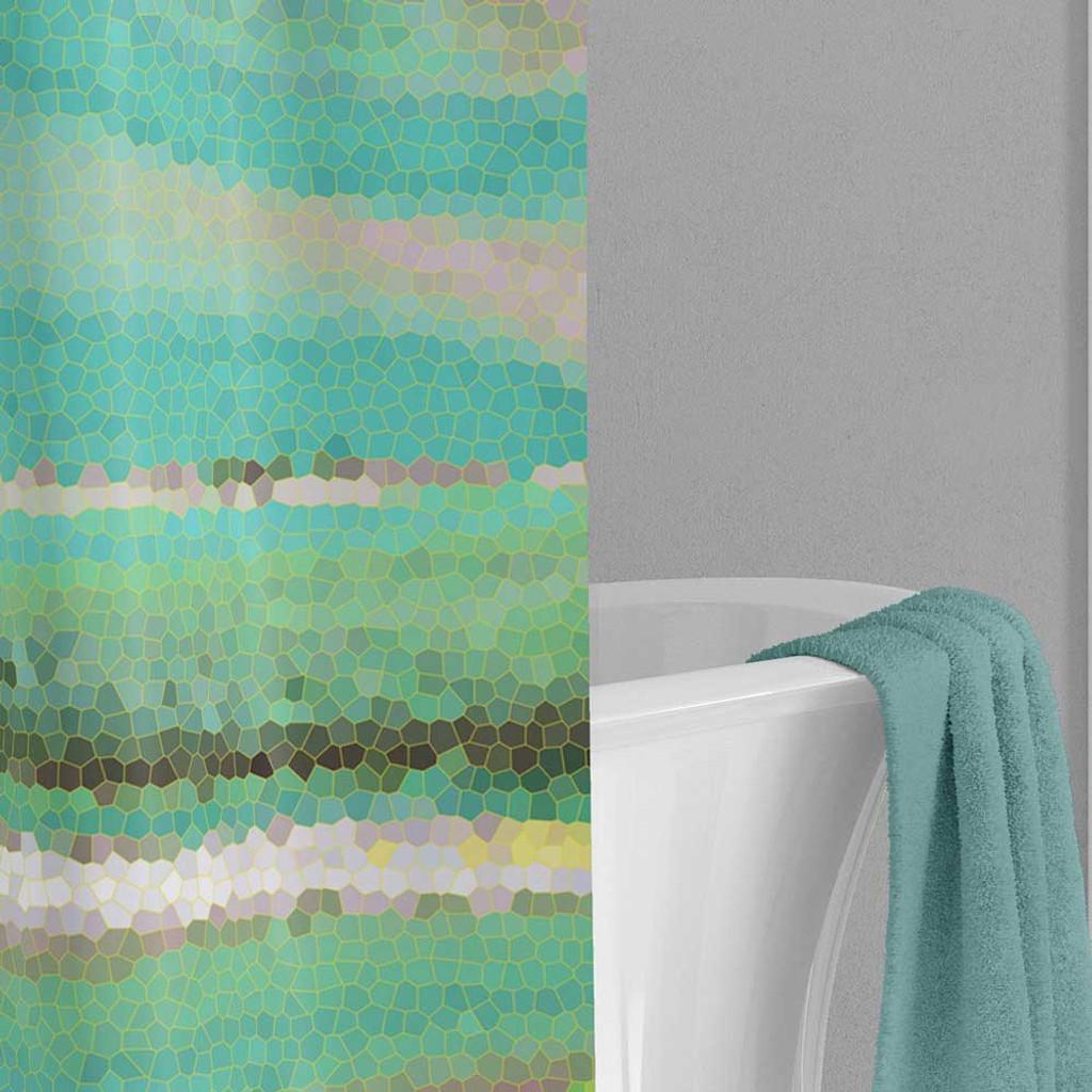 blue green wave shower curtain