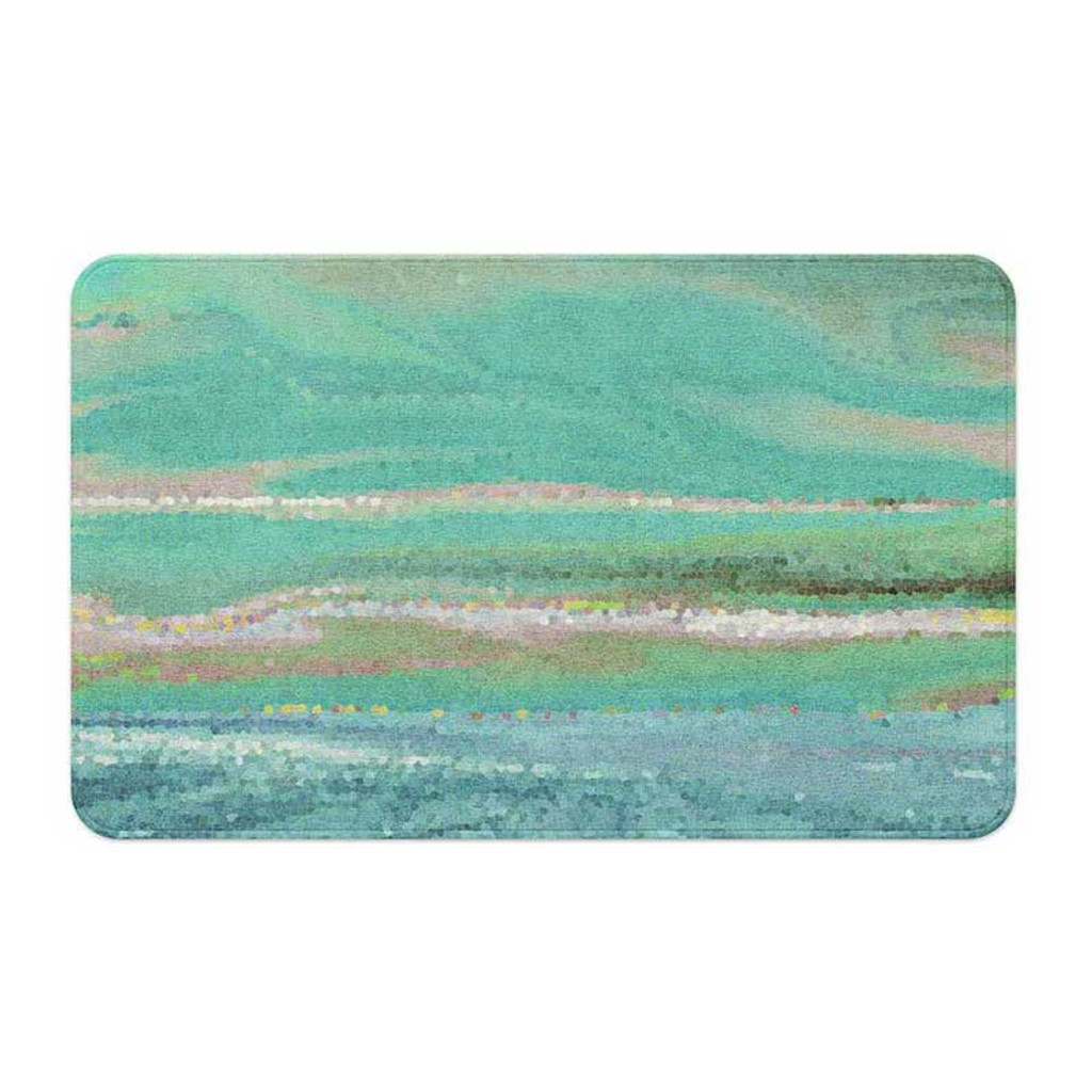 coastal art bath mat in green and blue