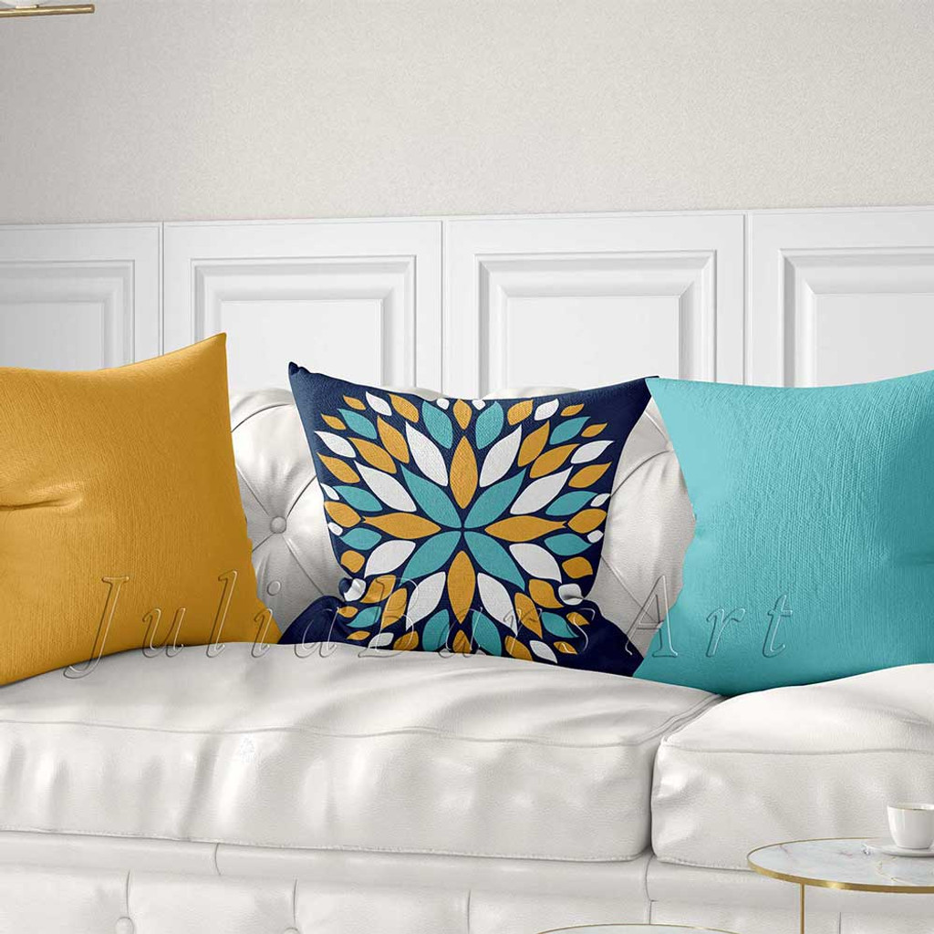 turquoise, yellow and blue throw pillows