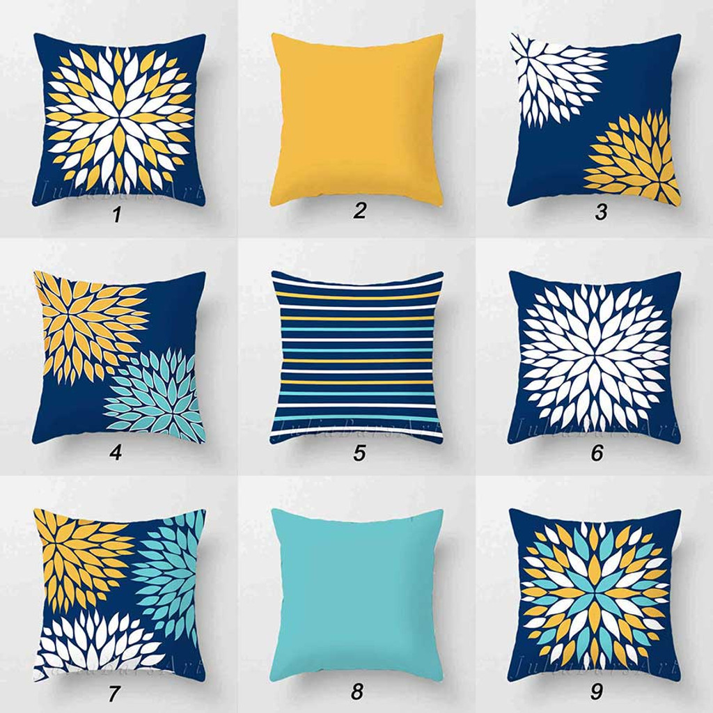 Throw Pillow Covers Cushion Covers In Blue Yellow Turquoise And White