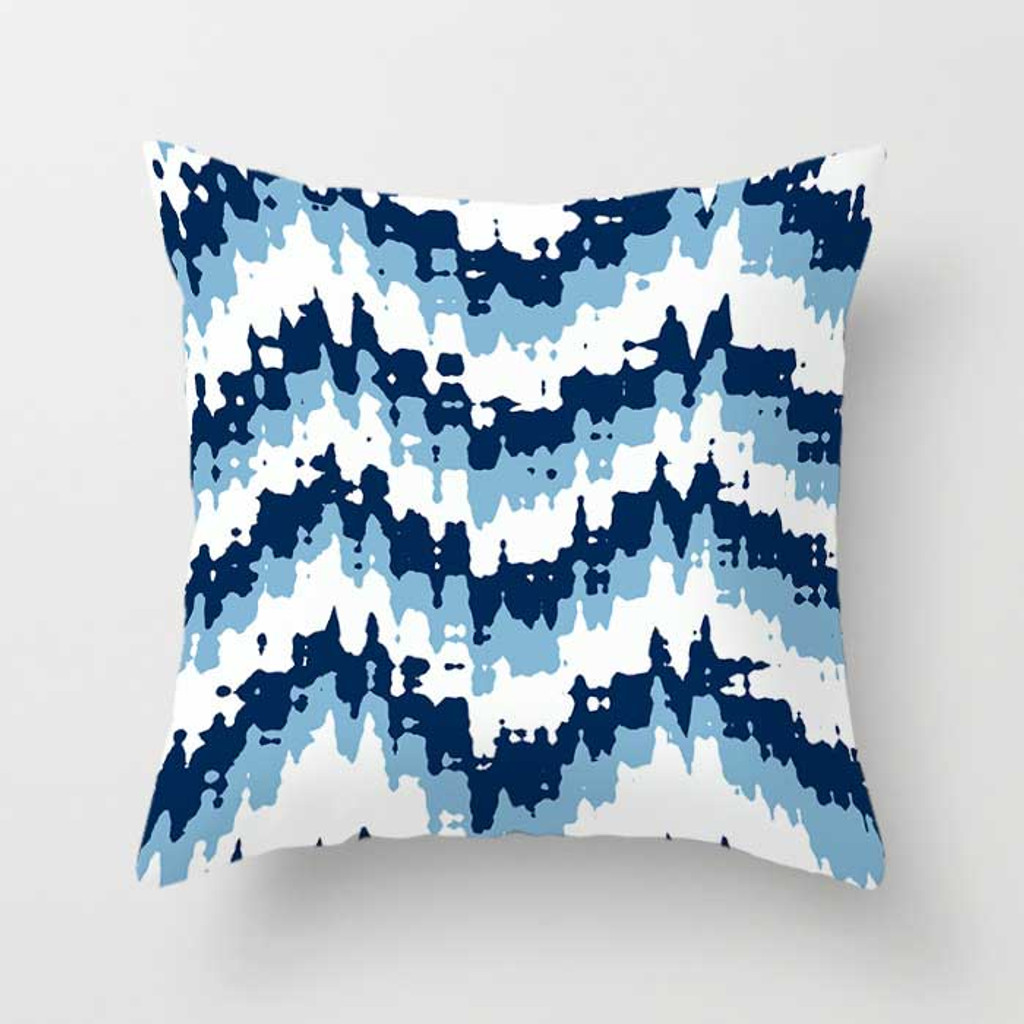 Blue White Throw Pillow Covers, Floral and Geometric Toss Pillow Case