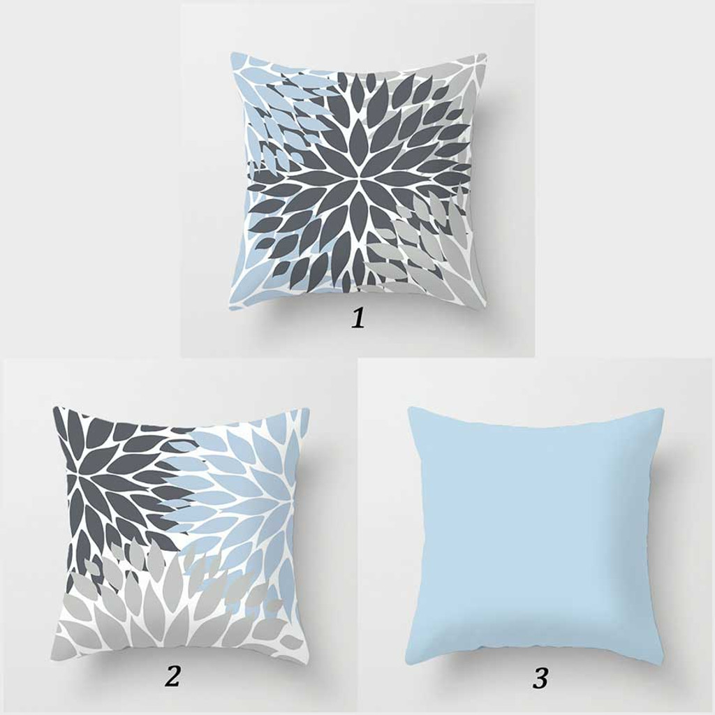 pale blue and gray floral throw pillow covers by Julia Bars
