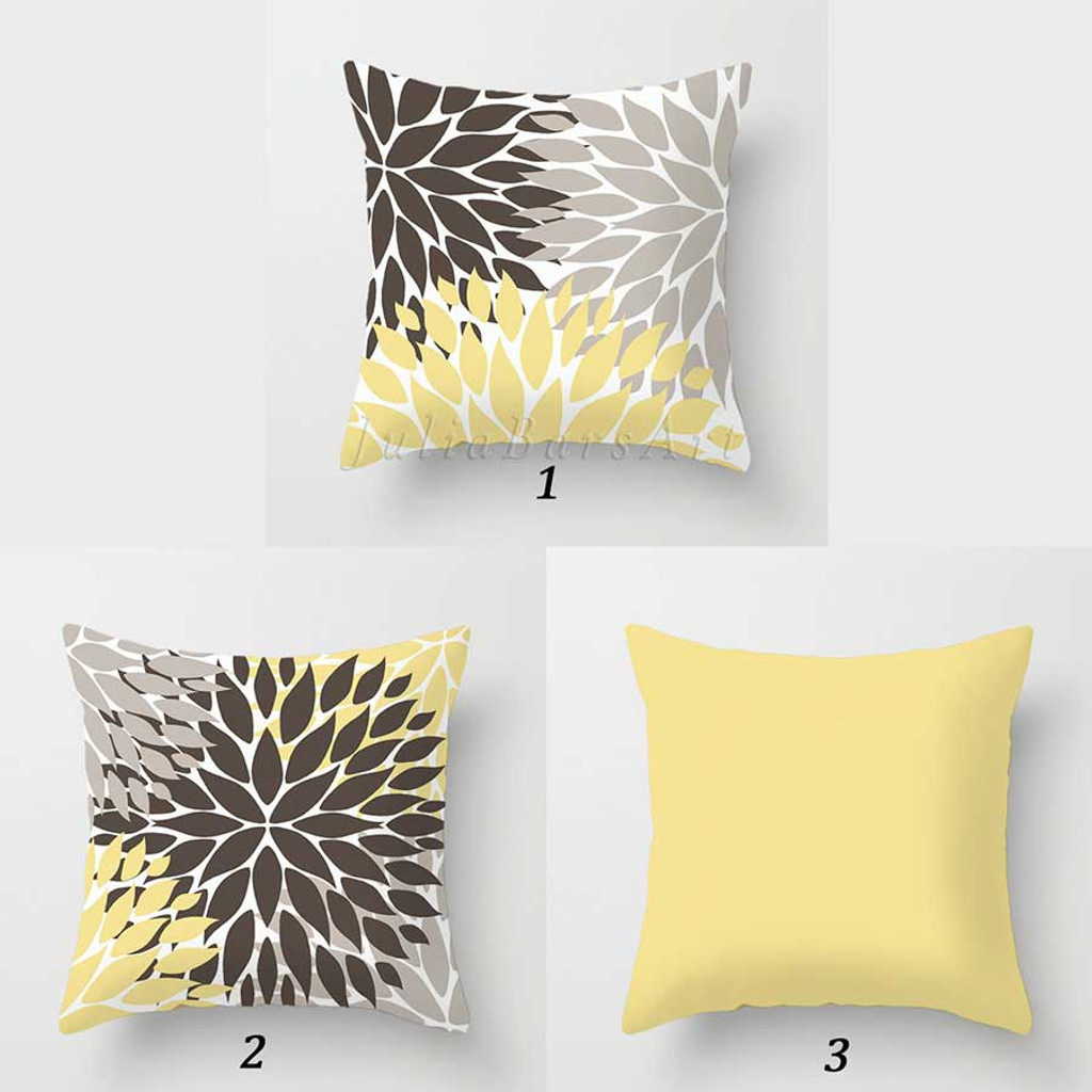 brown and yellow floral Dahlia pillows