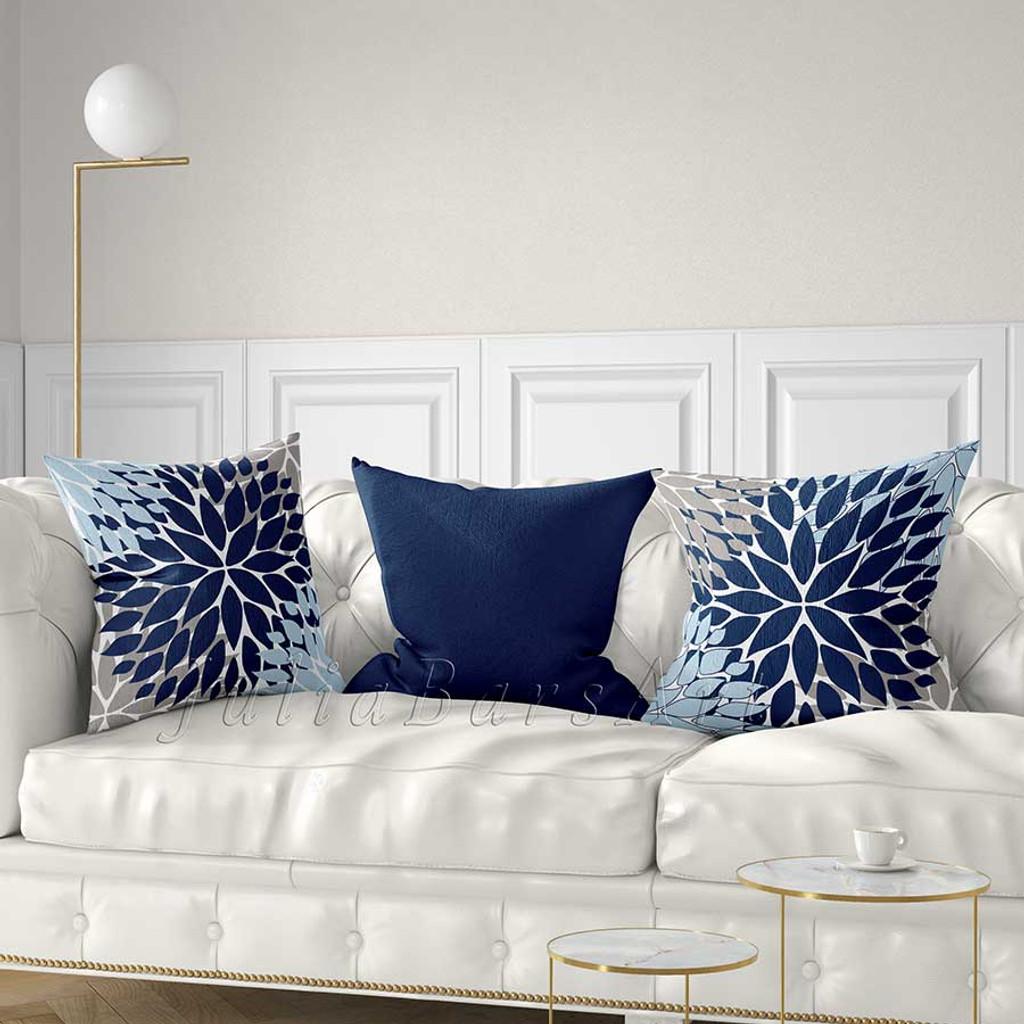 blue, gray and light blue throw pillows with Dahlia design