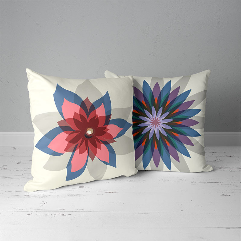 unique throw pillows with floral design