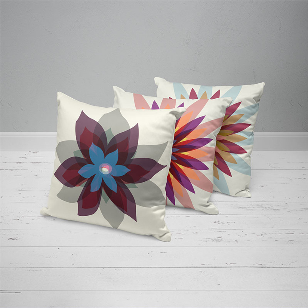 decorative pillows with original flowers