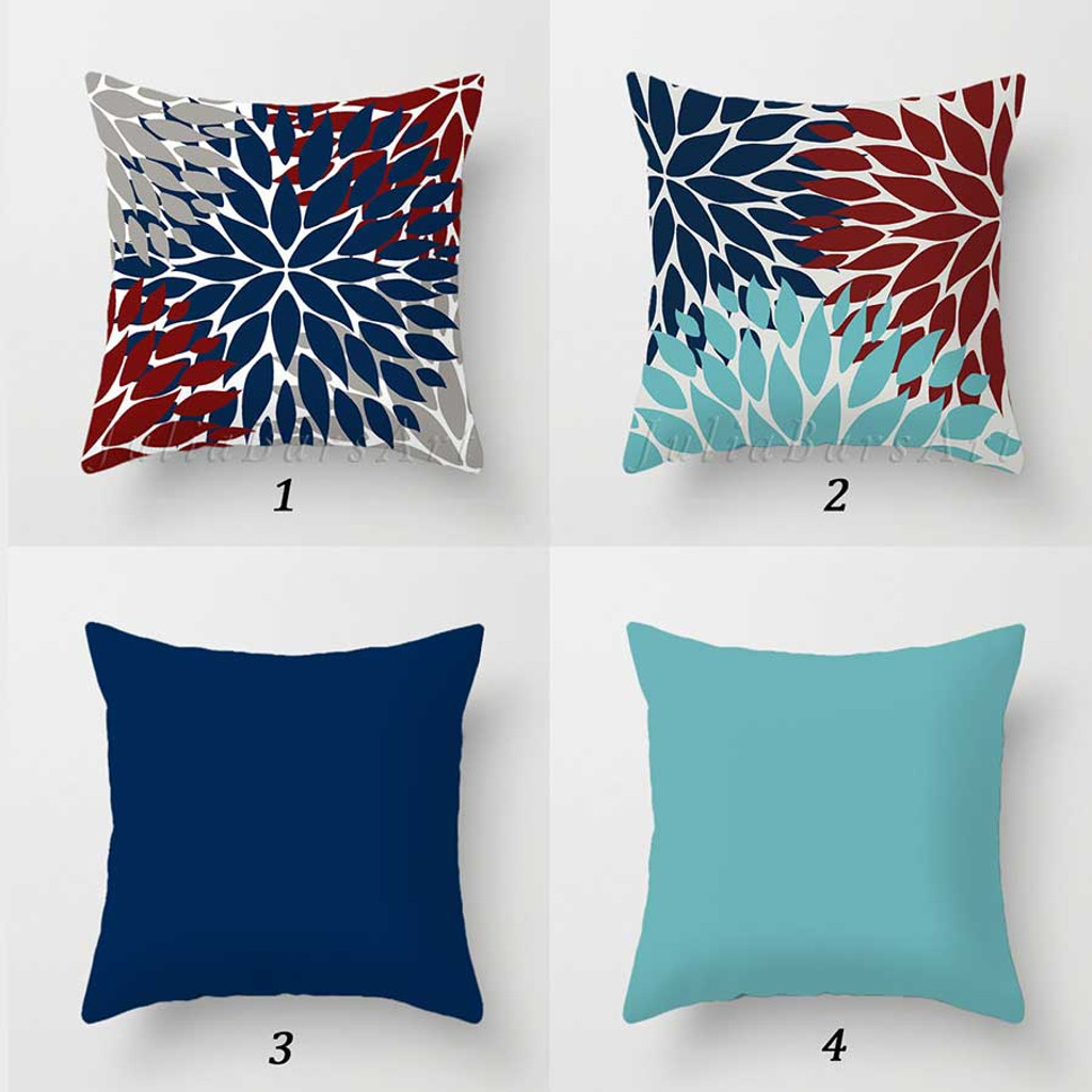 outdoor pillow covers with floral design in blue, teal and red