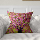 cherry tree pillow, art pillow in pink and green
