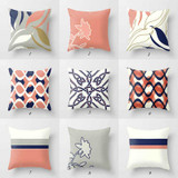 pink and navy blue decorative throw pillows