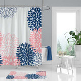 floral shower curtain and bath mat, blue, white and pink