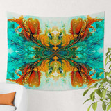 abstract art wall hanging tapestry in blue, green and orange