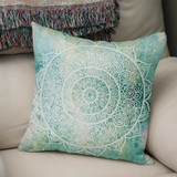 green and aqua blue mandala throw pillow