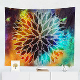 abstract tapestry wall hanging, purple, teal, yellow