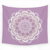 Lavender tapestry with white mandala design