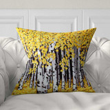 decorative throw pillow with birch trees, yellow, white