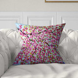 decorative pillow with cherry tree in pink and blue