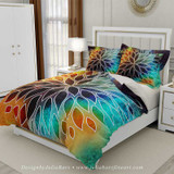 floral duvet cover in teal, purple and orange
