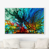 abstract seascape art, underwater coral reef art print by Julia Bars