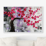 floral art print in pink and gray, pink blooming cherry tree painting by Julia Bars