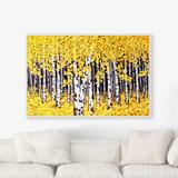 autumn birch trees art print by Julia Bars