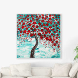 painting of blooming cherry tree with red flowers on blue background
