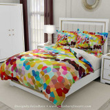 duvet cover and pillow shams with colorful mosaic pattern