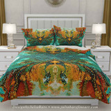 bohemian duvet cover in teal and orange by Julia Bars