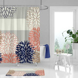 floral shower curtain with stripes, navy blue, pink, gray