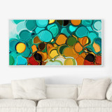 abstract wall art in teal and orange
