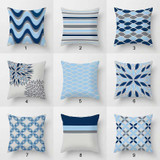 mix and match throw pillow covers with geometric design, blue and gray