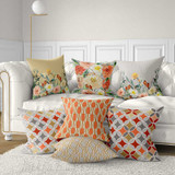 Decorative cushions, floral and geometric patterns, gray, coral red, blue