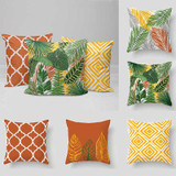 tropical pillows, outdoor pillows with palm leaves in yellow, orange and green