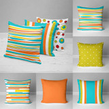 colorful outdoor pillows in teal, orange, green and yellow