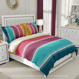 striped duvet cover, teal, aqua, pink and yellow