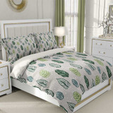 green and gray duvet cover with leaves