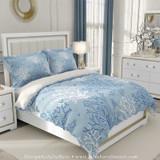 designer duvet cover in blue and white