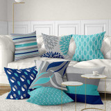 pillows for sofa, geometric patterns in blue and gray