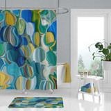 abstract art shower curtain in teal, yellow, blue and green