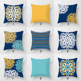 blue, turquoise, yellow cushions with original designs