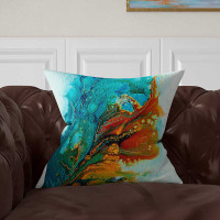 Designer throw pillow featuring abstract artwork, blue, teal, turquoise, brown, orange