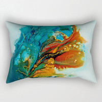 abstract lumbar pillow, rectangular pillow, teal and orange